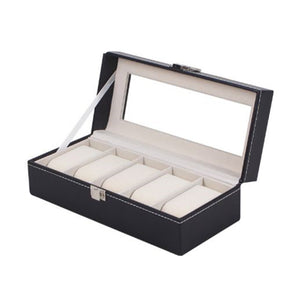 Watch Box 5 Grid Display Case Box for Watches Jewelry Black PU Leather Watch Boxes Storage Winder Organizer Holder Gift