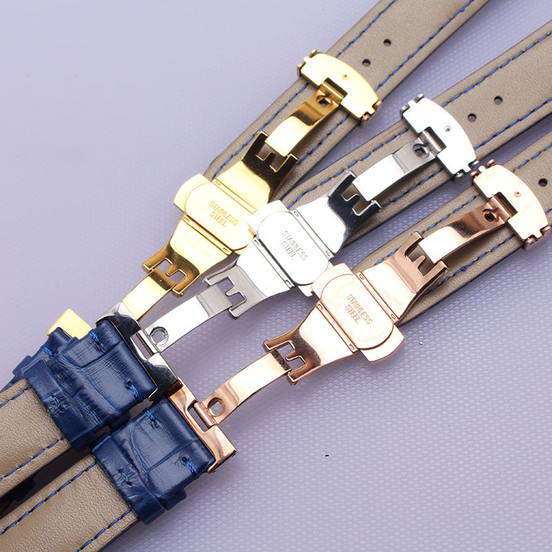 Wrist Watchband Accessories Alligator Grain Genuine leather Blue watch band straps 14mm 16mm 18mm 20mm 22mm butterfly buckle new