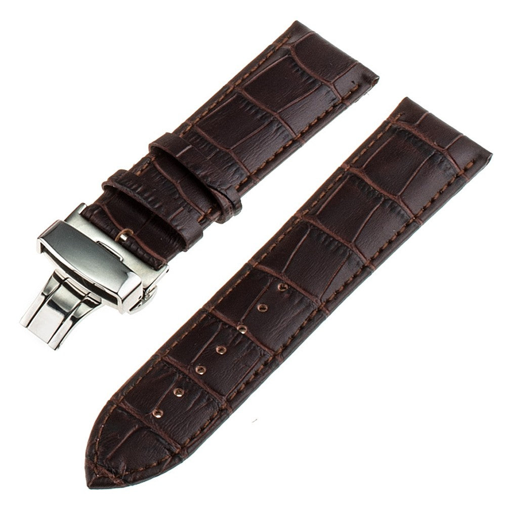 20mm 22mm Genuine Leather Watchband for IWC Watch Band Alligator Grain Strap Stainless Steel Butterfly Buckle Bracelet + Tools