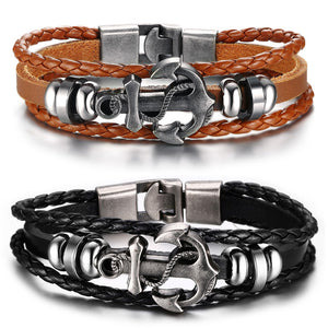 Vintage Anchor Bracelet Black Genuine Braided Leather Charm Bracelets Men Jewelry Party Gift Multi Layer Male Pulseira