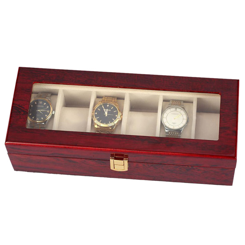 6 Slots Wood Watch Display Case Box Glass Top Jewelry Storage Organizer Gift Men