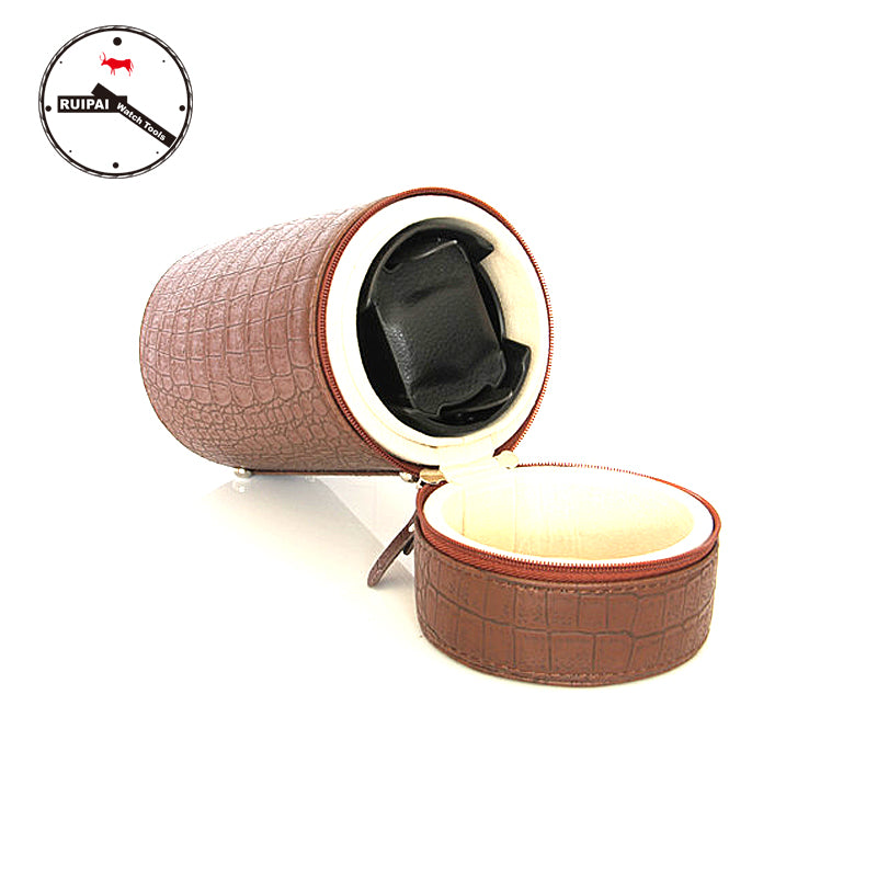 Brown PU Leather 3 Modes Automatic Self  Winding Box,Watch Storage Tools Round Type Portable Watch Winder