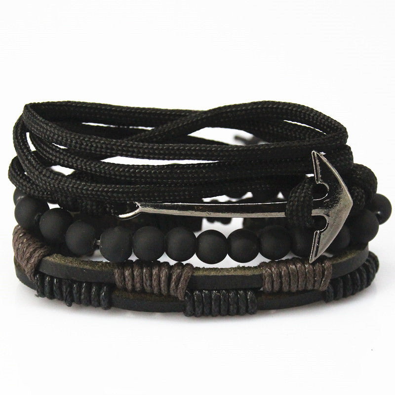 Fashion accessory anchor Bead Leather Bracelets & bangles for Women 3/4 pcs 1 Set Multilayer Wristband Bracelet Men pulseira