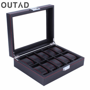 Wooden Watch Box Carbon Fibre Modern 10 Grids Pattern Watches Storage Display Slot Case Organizer Winder Gift For Friends