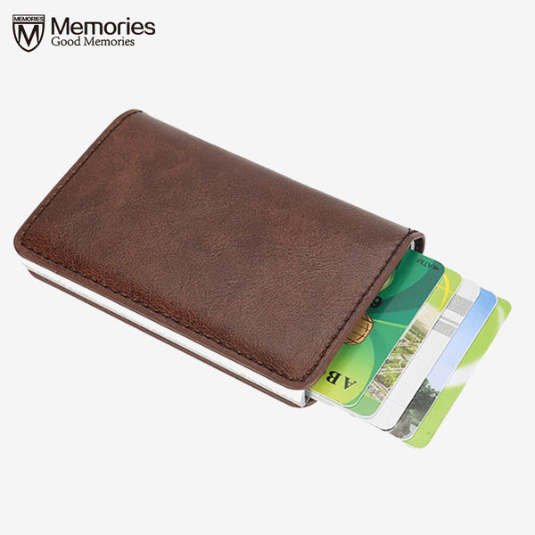 Men Blocking Card Holder Business Leather ID Cash Credit Protector  Purse Wallet Aluminium Automatic 13 Cards Pop Up Card Case