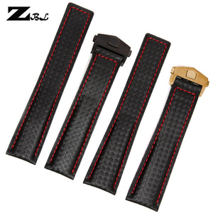 Carbon Fiber Watchband bottom is genuine leather red stitched  19mm 20mm  22mm black watch accessories bracelet watch strap band