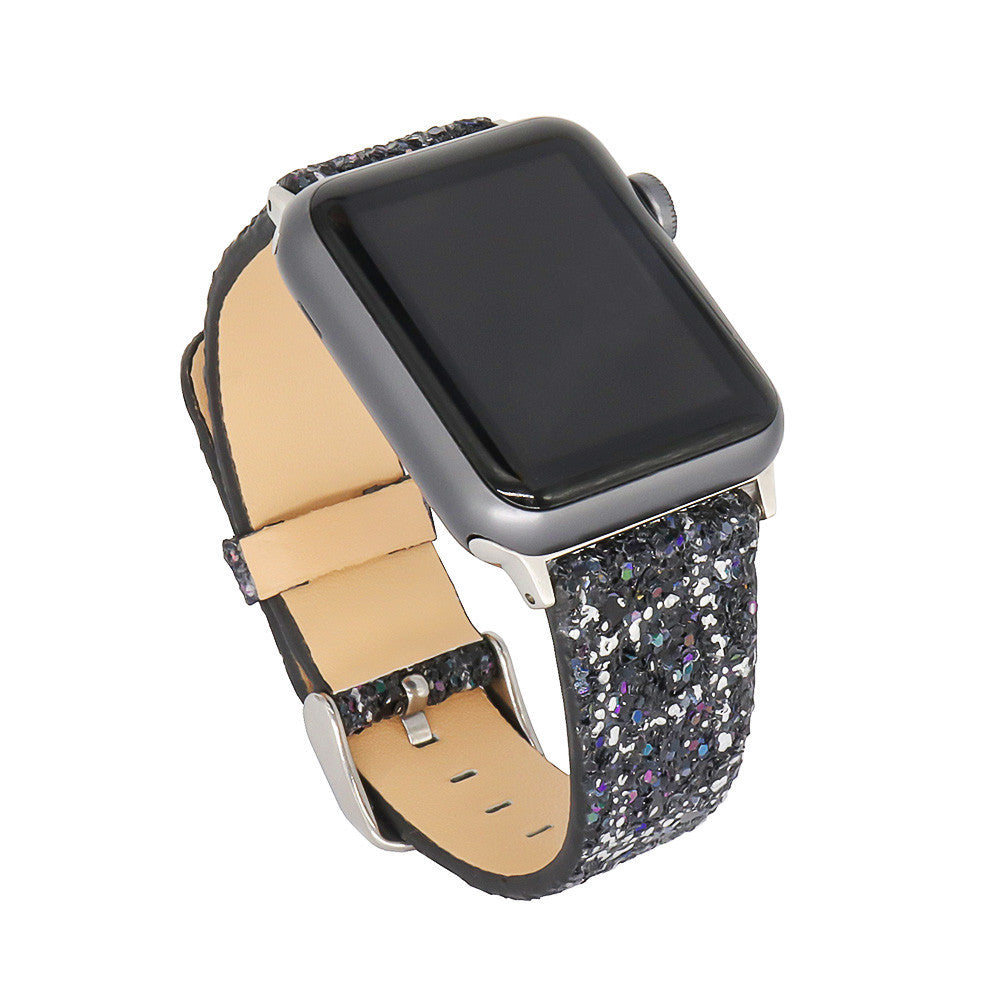 Glitter Leather Wrist Replacement Strap Watch Band For Apple 42mm