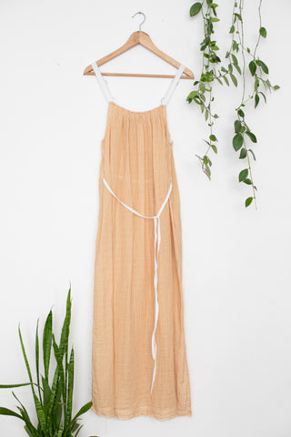 Organic Cotton Waffle Orange Maxi Dress