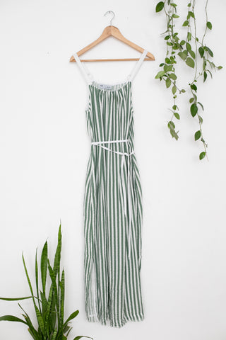 Organic Cotton Waffle Green Maxi Dress