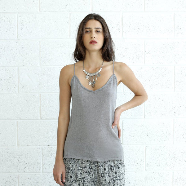 Knitted Summer Tank Top, Silver.