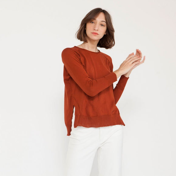 Pullover Raglan sweater, Cotton knit Top, winter sweater, Brick color .