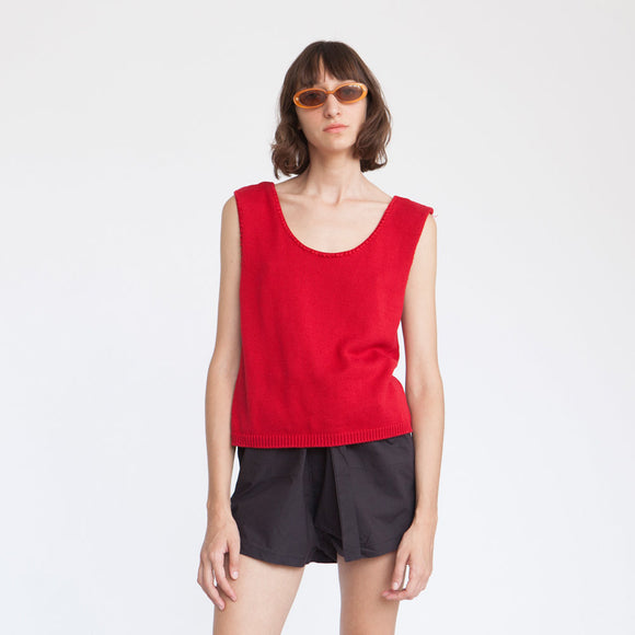 Machine Knitted Red top, knit crop top, knit shirt, Red .