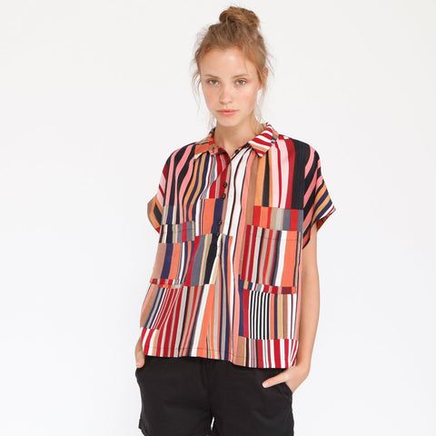 Multicolor stripes Poncho Shirt