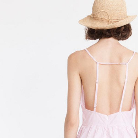 Relaxed-Fit short Jumpsuit, Pinstripes, Pink & White
