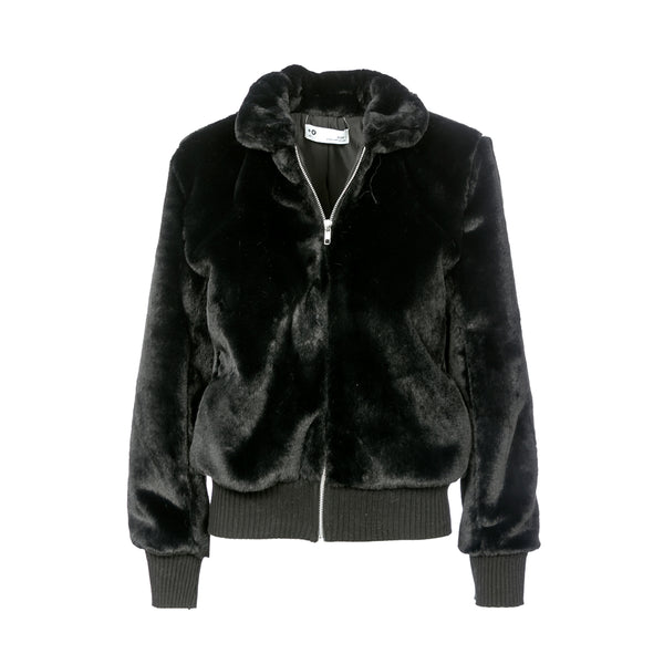 Fluffy bomber jacket ,faux-fur coat ,Black .