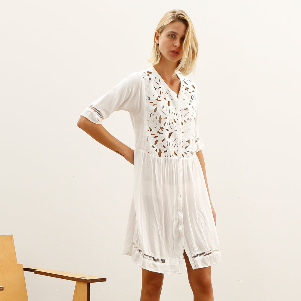 EMB cut out Cocktail White Embroidery Dress