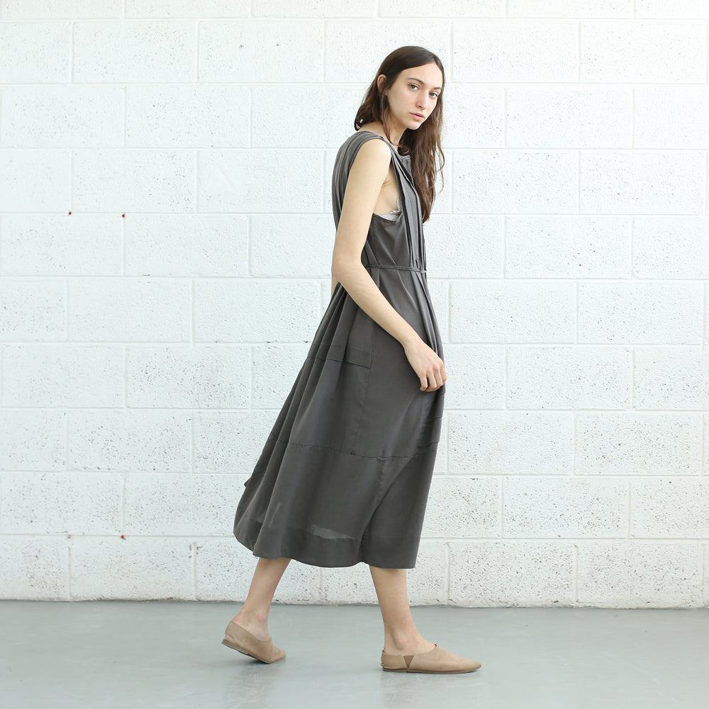 Plaid maxi dress , Summer Easy dress, Grey.