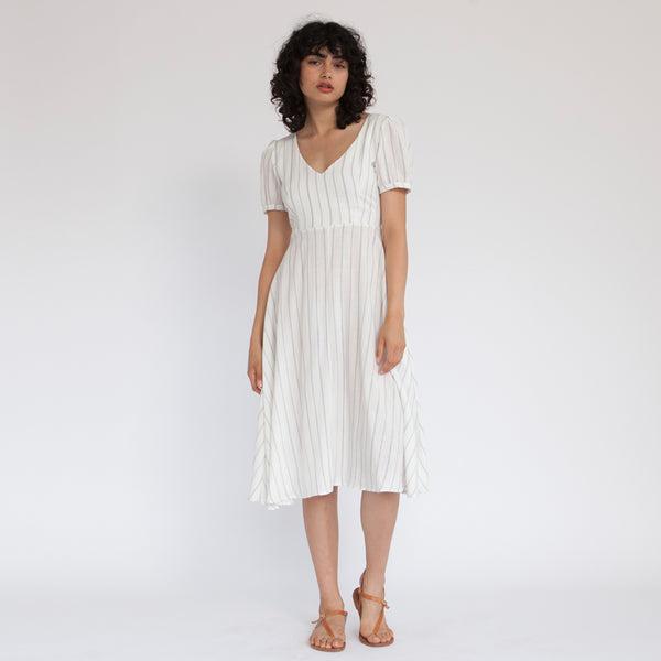 French Kiss Midi Dress, White Stripes linen