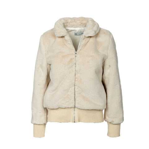 Fluffy bomber jacket ,faux-fur coat ,Ivory .