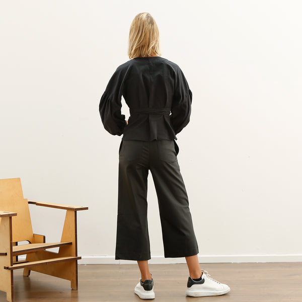 High waisted Black Faux Leather Pants, elastic Karate fit Pants