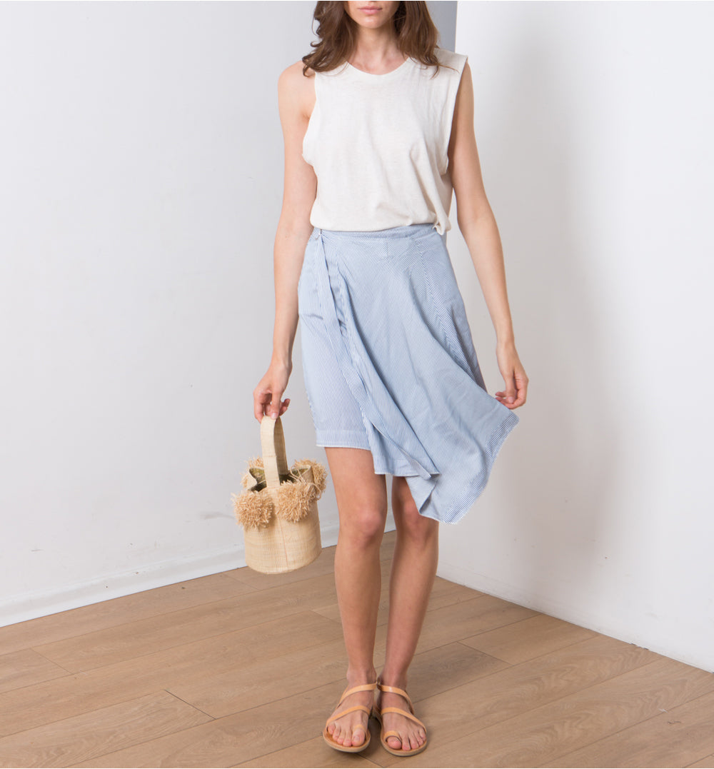 KOKO Skirt , Wrap Summer Skirt, asymmetrical skirt. Blue and white Strips Skirt