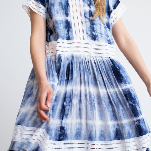 Tie dye Party Eyelet Trim Maxi Dress