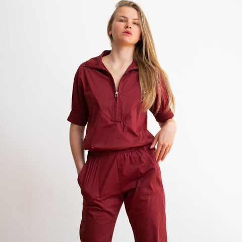 Weekday High Waist Boiler Suit ,Cherry color.