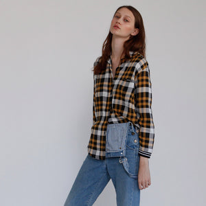 The Elamore Blouse, Yellow Plaid Top