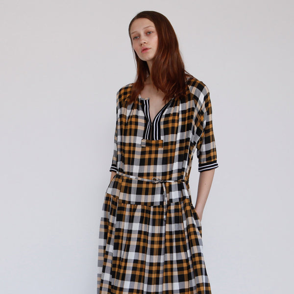 The Elamore Dress, Yellow Plaid dress