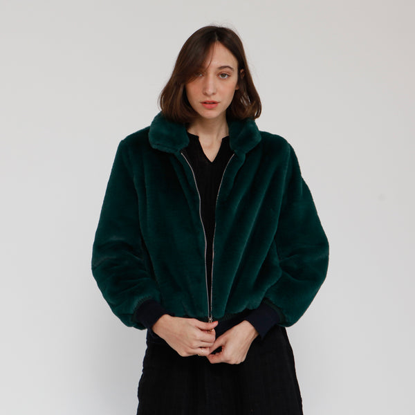 Fluffy bomber jacket ,faux-fur coat ,Green .