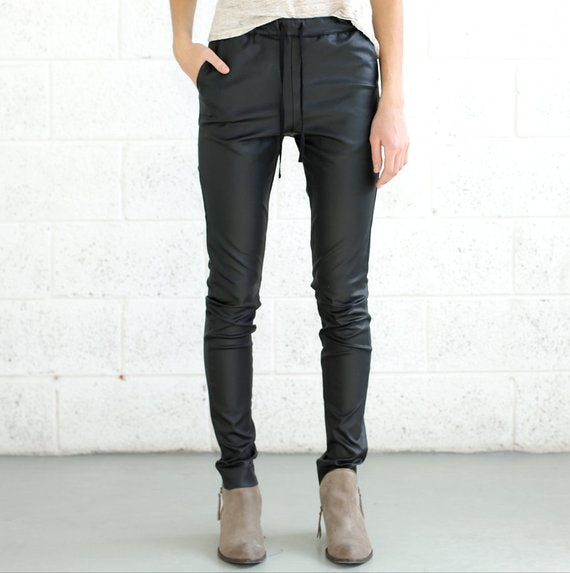 Faux Leather Pants, NAVY Slim fitting trousers