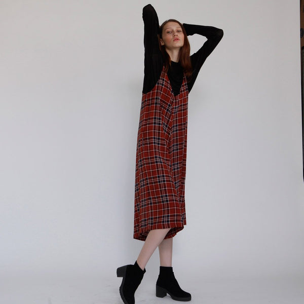 Winter Plaid Red wide leg Jumpsuit, Evening relax fit, boho overall.