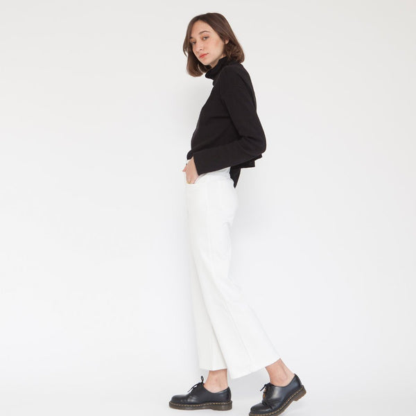 High rise pants Cropped Work white cotton pants