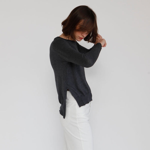 Pullover Raglan sweater, Cotton knit Top, winter sweater, Grey color .