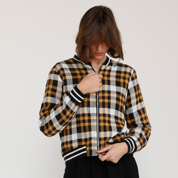 Plaid bomber jacket ,Buffalo Plaid Womens Bomber Jacket, Black and yellow .