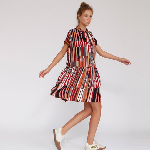 Poncho Multicolor Stripe Midi Summer Dress