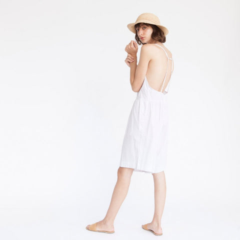 Relaxed-Fit short Jumpsuit, Pinstripes, White & Camel