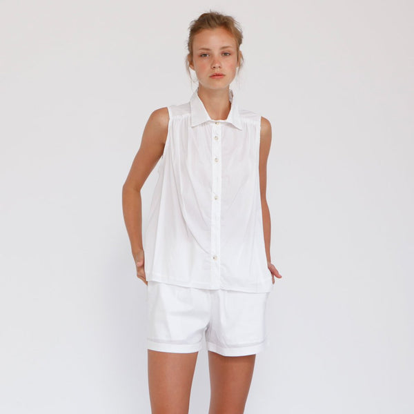 Cotton Button Down Sleeveless Blouse , White