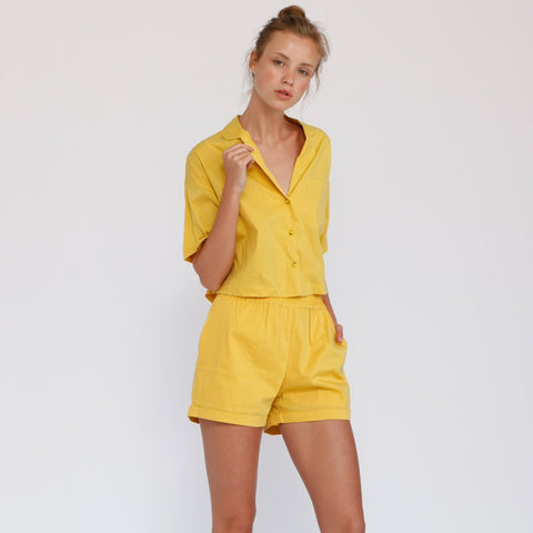 Aria Summer Button Down Shirt, Yellow