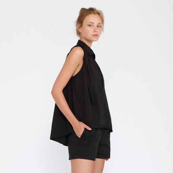 Cotton Button Down Sleeveless Blouse , Black