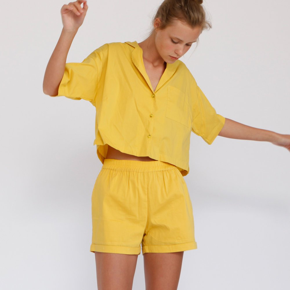 737b60af0 Aria Summer Button Down Shirt, Yellow. Size Charts