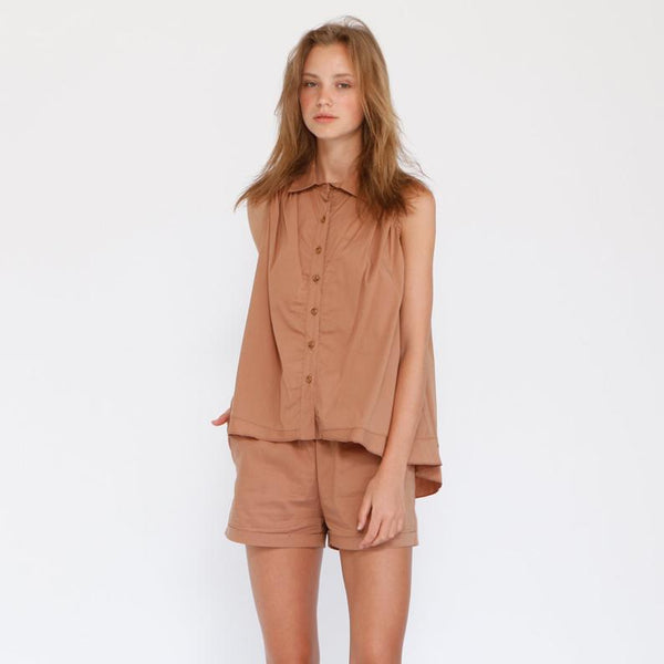 Cotton Button Down Sleeveless Blouse , Brown