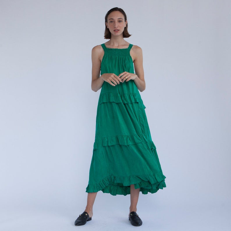 Tile Maxi Summer Green Dress