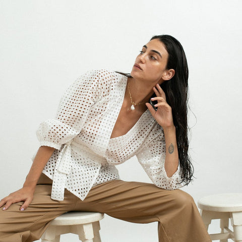 EMB cut out Blouse , Eyelet wrap shirt