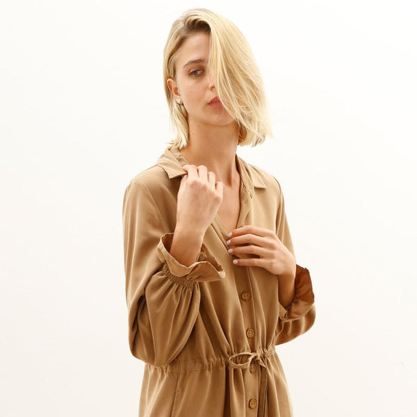Twill Maxi Dress, Brown