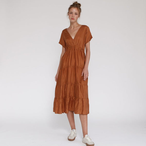 Tile Maxi Summer Golden-Brown Dress