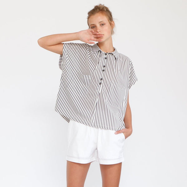 Black & White stripes Poncho Shirt
