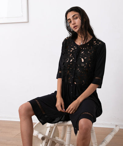 EMB cut out Cocktail Black Embroidery Dress