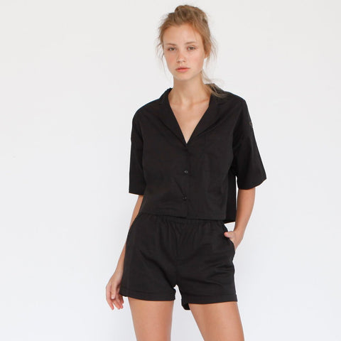 Aria Summer Button Down Shirt, Black