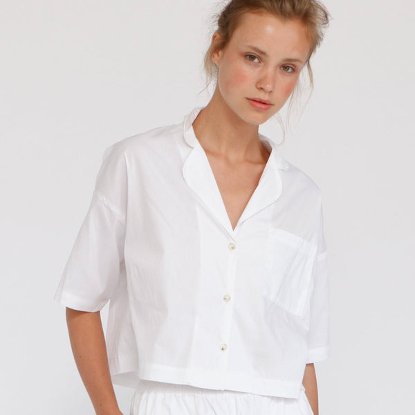 Aria Summer Button Down Shirt, White